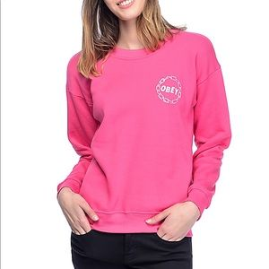 Obey pink crew neck